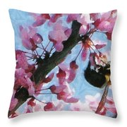 Bee To The Blossom Throw Pillow