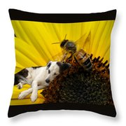 Bee With Dog Throw Pillow