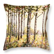 Beech Trees At Dawn Throw Pillow
