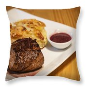 Beef Steak With Potato And Cheese Bake Throw Pillow