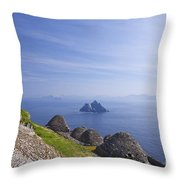 Beehive Stone Huts, Skellig Michael County Kerry Ireland Throw Pillow