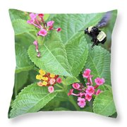 Beeing Amongst The Flowers Throw Pillow