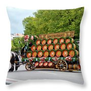Beer Barrels On Cart Throw Pillow