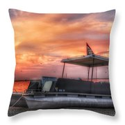 Beer Can Island Sunset Throw Pillow