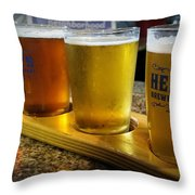 Beer Flight Throw Pillow by April Wietrecki Green