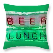 Beer Lunch Throw Pillow