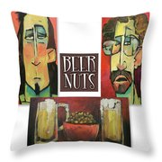 Beer Nuts Throw Pillow