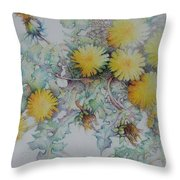 Bees Adore Dandelions Throw Pillow