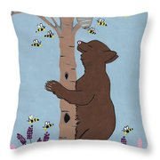 Bees And The Bear Throw Pillow