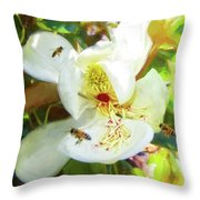 Bees On Open Magnolia Throw Pillow