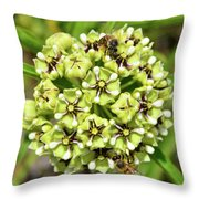 Bees Pollinating Throw Pillow