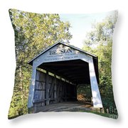 Beeson Covered Bridge Indiana Throw Pillow