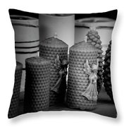 Beeswax Candles With Angels And Pinecones Throw Pillow