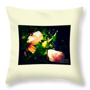 Beetle Hanging Out With Hibiscus Flowers Throw Pillow