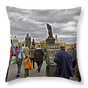 Before The Rain On The Charles Bridge Throw Pillow