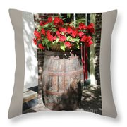 Begonias In The Barrel Throw Pillow