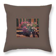 Begonias On Deck Throw Pillow