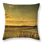 Behind Cherry Grove Pier  Throw Pillow