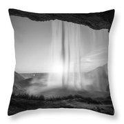 Behind Seljalandsfoss Sunset Bw Throw Pillow