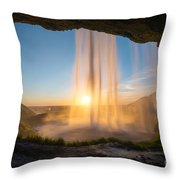 Behind Seljalandsfoss Sunset  Throw Pillow