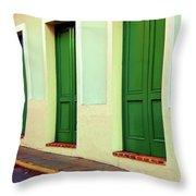 Behind The Green Doors Throw Pillow