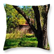 Behind The Old Oak Tree Throw Pillow