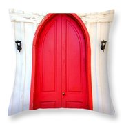 Behind The Red Door Throw Pillow