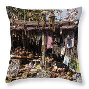 Behramkale Street Market Throw Pillow