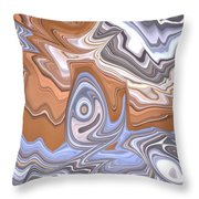 Beige And Blue Throw Pillow