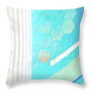 Beige And Turquoise Candy Stripes Throw Pillow