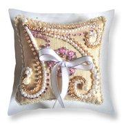 Beige-white Wedding Ring Pillow Throw Pillow