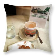 Beignet And Coffee At Cafe Du Monde Throw Pillow