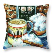 Beignets And Cafe Au Lait Throw Pillow