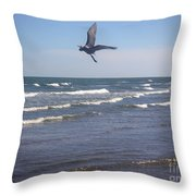Being One With The Gulf - On Wings Throw Pillow