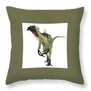 Beipiaosaurus Dinosaur On White Throw Pillow