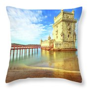 Belem Tower Reflects Throw Pillow