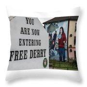 Belfast Mural - Free Derry - Ireland Throw Pillow