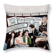 Belfast Mural - Headlines - Ireland Throw Pillow