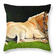 Belgian Horse Foal Throw Pillow