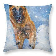 Belgian Malinois In Snow Throw Pillow