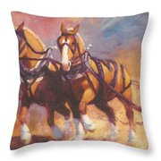Belgian Team Pulling Horses Painting Throw Pillow