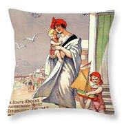 Belgium Ostende Vintage Travel Poster Restored Throw Pillow