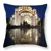 Belgrade Serbia Orthodox Cathedral Of Saint Sava  Throw Pillow