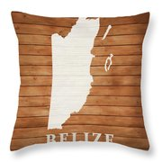 Belize Rustic Map On Wood Throw Pillow
