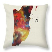 Belize Watercolor Map Throw Pillow