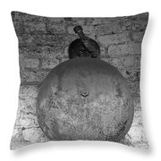 Bell On Bricks B W  Throw Pillow