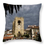Bell Tower Against Roiling Sky Throw Pillow