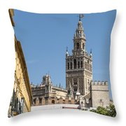 Bell Tower - Cathedral Of Seville - Seville Spain Throw Pillow