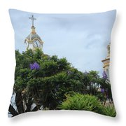 Bell Towers Next To Trees Throw Pillow