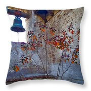 Bell Wall And Eastern Wall Of Serra Chapel In Sacred Garden Mission San Juan Capistrano California Throw Pillow